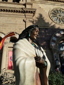 Kateri Tekakwitha in Santa Fe Catholic Cathedral.  Photo by Jim McIntosh.