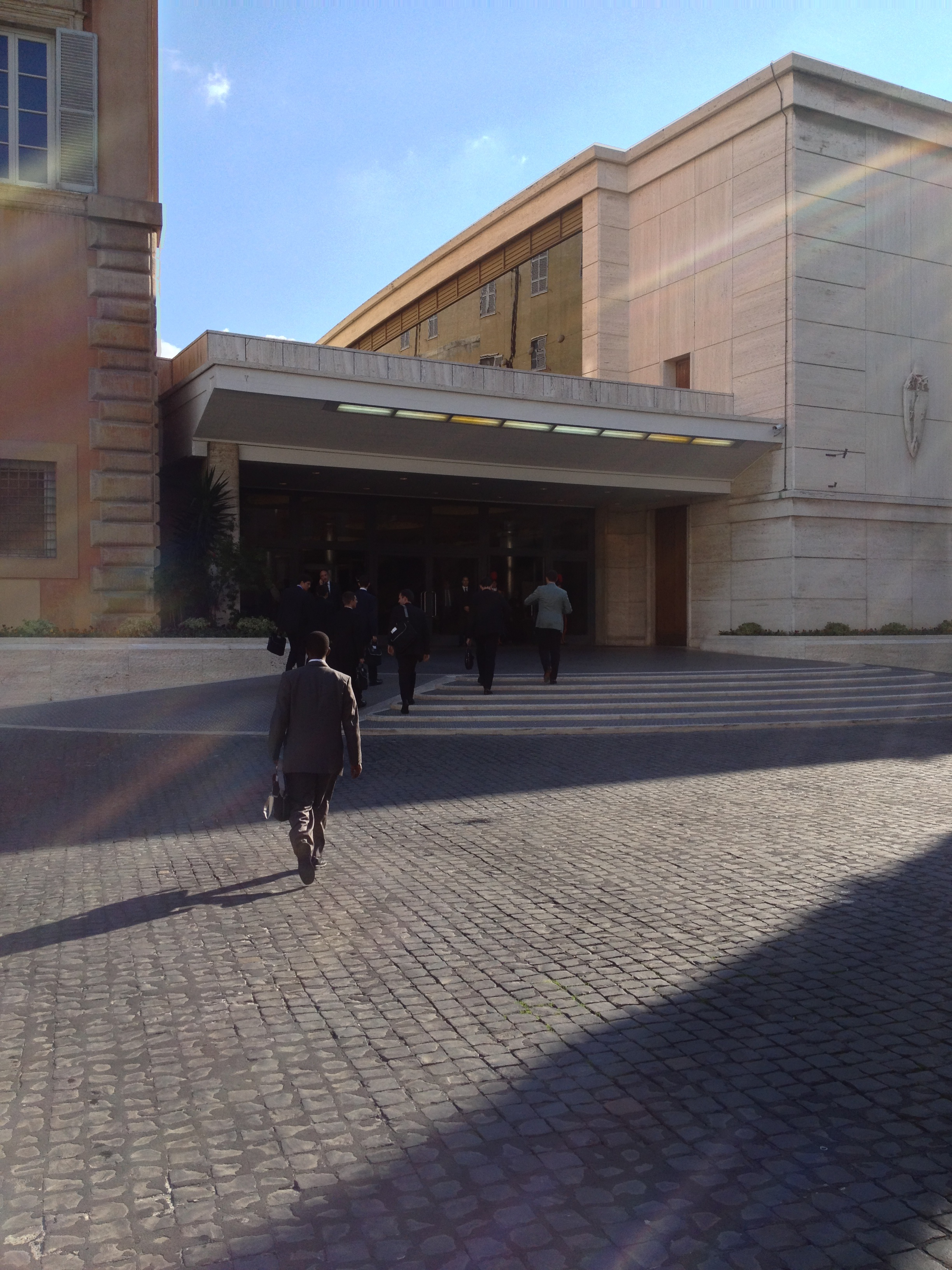 The entrance to the Paul VI Audience Hall. The synod assembly takes place on the second floor.