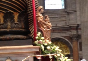 May Mary,the Star of the New Evangelization, intercede for us. (Photo taken from my seat in St. Peter's Basilica.)