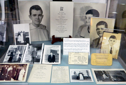 A display case, above, on loan from the Sisters of Charity of Nazareth, features a special exhibit of photos and other mementos of Archbishop Thomas C. Kelly at the Archdiocese of Louisville History Center, 424 S. Fifth St.