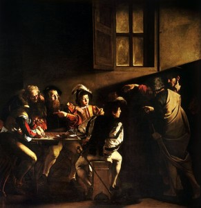 The Calling of Saint Matthew by Caravaggo (1599-1600)