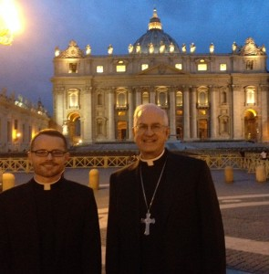 Seminarian Casey Sanders and Archbishop Kurtz in Rome