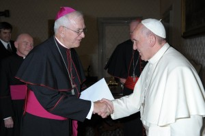 Archbishop Kurtz greets Pope Francis at the meeting with the leaders of the United States Conference of Catholic Bishops on October 7.