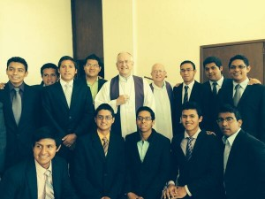 Seminarians in Leon, Mexico welcome us for Mass at Cristo Rey shrine high on mountain in Guanajuato.
