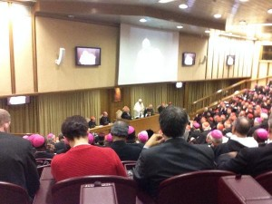 Pope Francis delivers his final speech to the Synod on the Family.  (Image courtesy of Salt and Light Media)