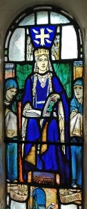 A photo of a stained glass window depicting St. Margaret of Scotland from a chapel in Edinburgh by photographer Kjetil Bjørnsrud. - See more at: