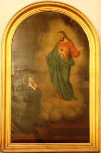 A painting of St. Margaret Mary and her vision of the Sacred Heart of Jesus at St. Lazarus Church in Marseille, France by Rvalette