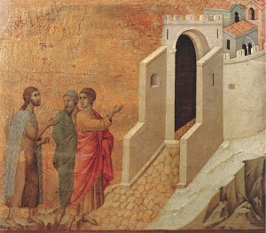 The Road to Emmaus by Duccio di Buoninsegna (Public Domain)
